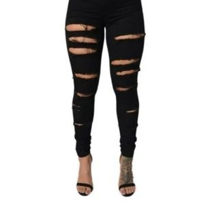 Forever21 Ripped Black Jeans